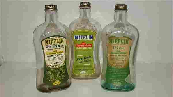 3 EMBOSSED ''MIFFLIN'' GLASS BOTTLES