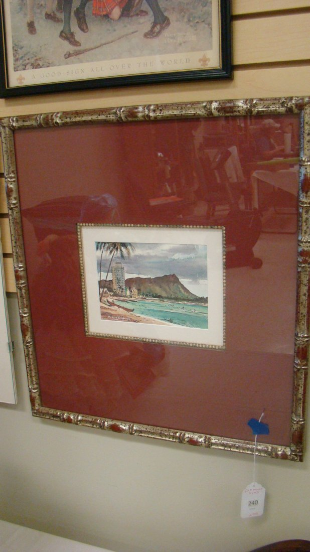 FRAMED AND MATTED PRINT OF DIAMOND HEAD
