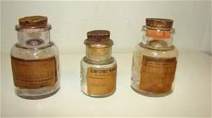 3 VTG GLASS MEDICINE POWDER JARS