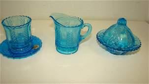 4 MINIATURE PCS WESTMORELAND BLUE GLASS ITEMS