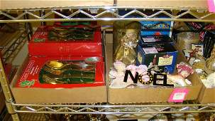 VARIOUS CHRISTMAS DECORATIONS AND GOLD PLATED FLATWARE