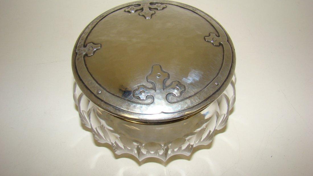 VTG CUT CRYSTAL POWDER JAR-STERLING LID