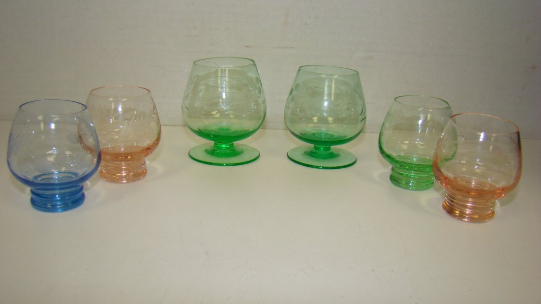 6 VARIOUS COLOR ETCHED CORDIALS