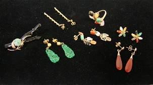 14K GOLD & JADE RING & 5 PR JADE EARRINGS