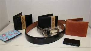 NEW LEATHER BELT-3 WALLETS & A MONEY CLIP