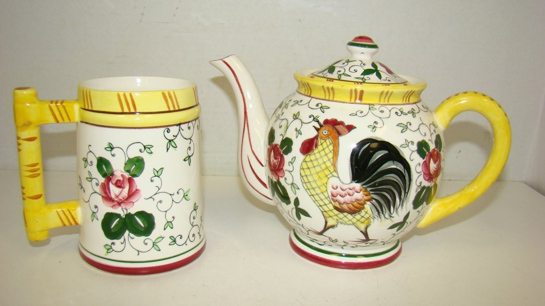 EARLY PROVINCIAL ''ROOSTER'' TEAPOT & MUG