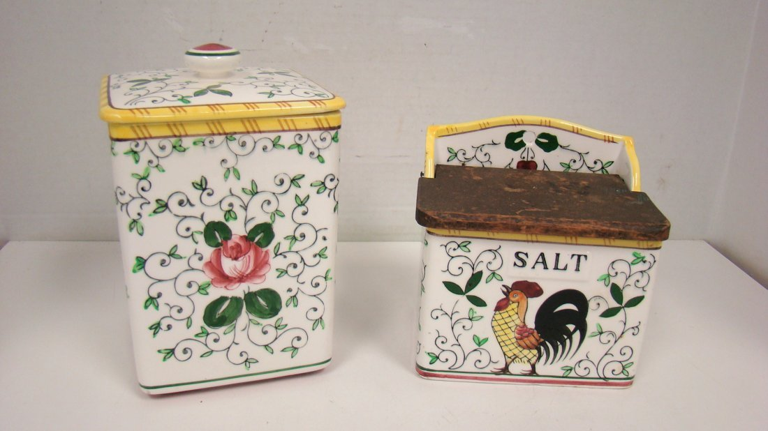 EARLY PROVINCIAL ROOSTER SUGAR CANISTER & SALT BOX