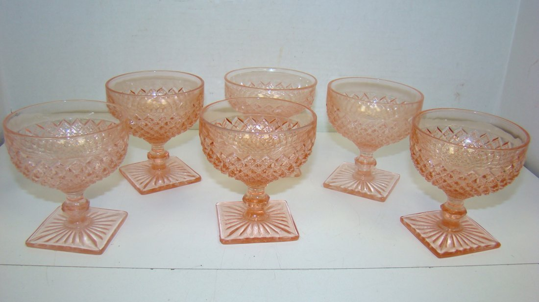 6 ''MISS AMERICA'' PINK GLASS SHERBERTS