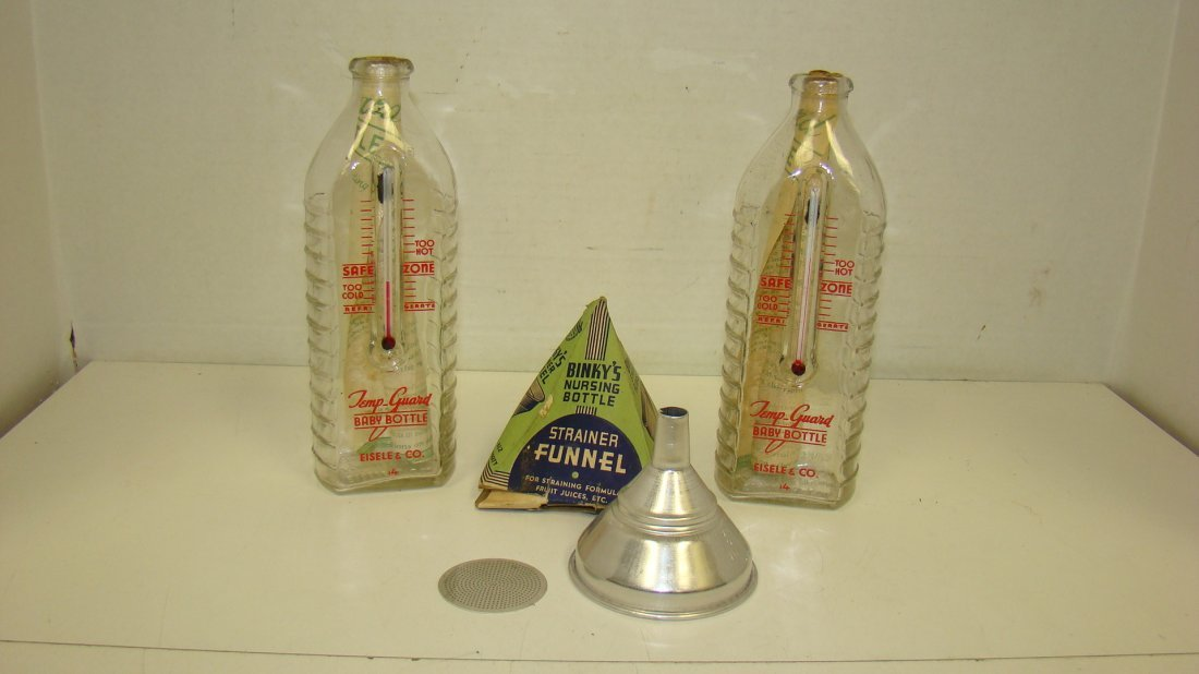 3 NEW/OLD STOCK TEMP-GUARD BOTTLES & FUNNEL