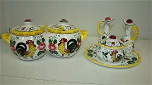 EARLY PROVINCIAL ROOSTER CONDIMENT SETS