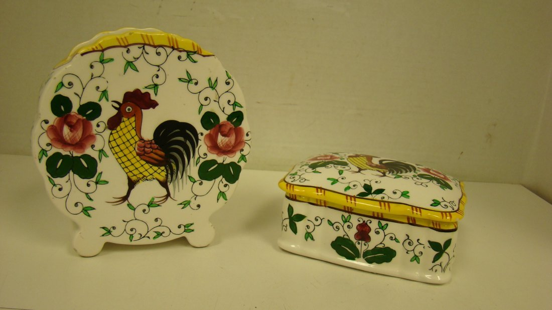 EARLY PROVINCIAL ROOSTER COVERED BOX & VASE