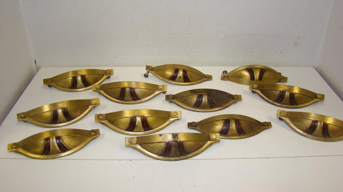12 VTG DECO METAL DRAWER PULLS