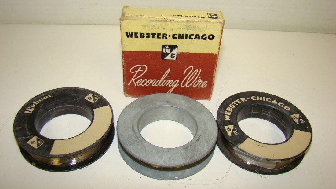 3 VTG SPOOLS WEBSTER RECORDING WIRE - 1 W/ BOX