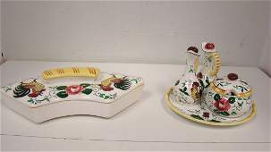 2 PCS EARLY PROVINCIAL ROOSTER DISHES