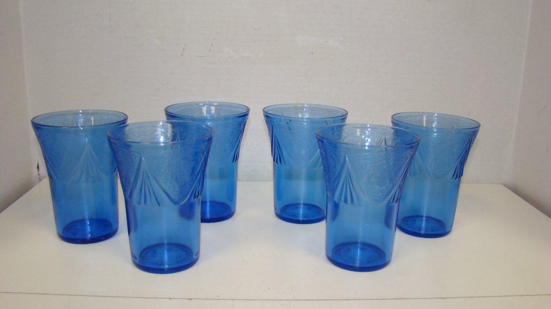 6 HAZEL ATLAZ BLUE GLASS 4'' CUPS