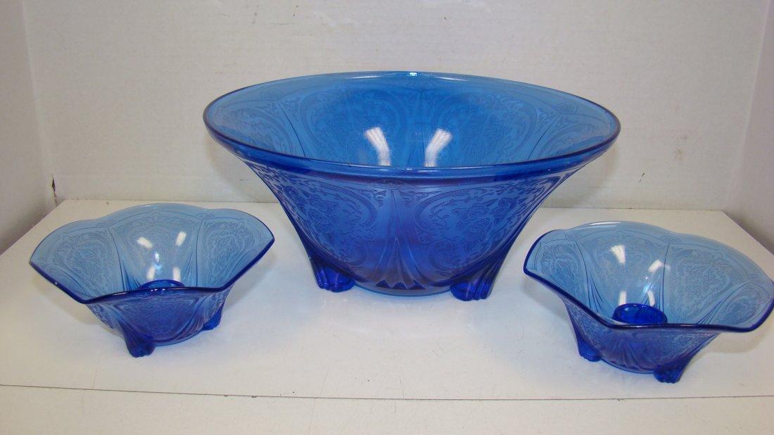 3 PCS OF COBALT BLUE GLASS ''ROYAL LACE'' PATTERN