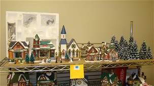 SHELFVARIOUS CHRISTMAS VILLAGE HOUSES  TREES