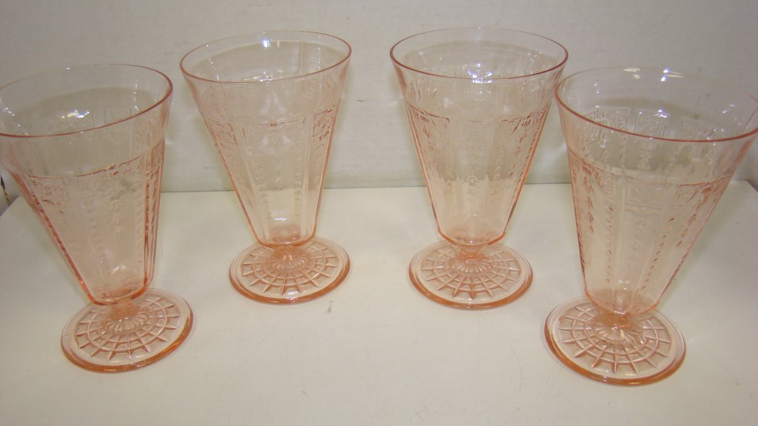 4 PINK DEP GLASS WATER GOBLET STEMS