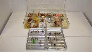 ALUMINUM  PLASTIC BOXES OF FISHING FLIES