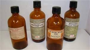 4 VTG AMBER GLASS MEDICINE  POISON BOTTLES