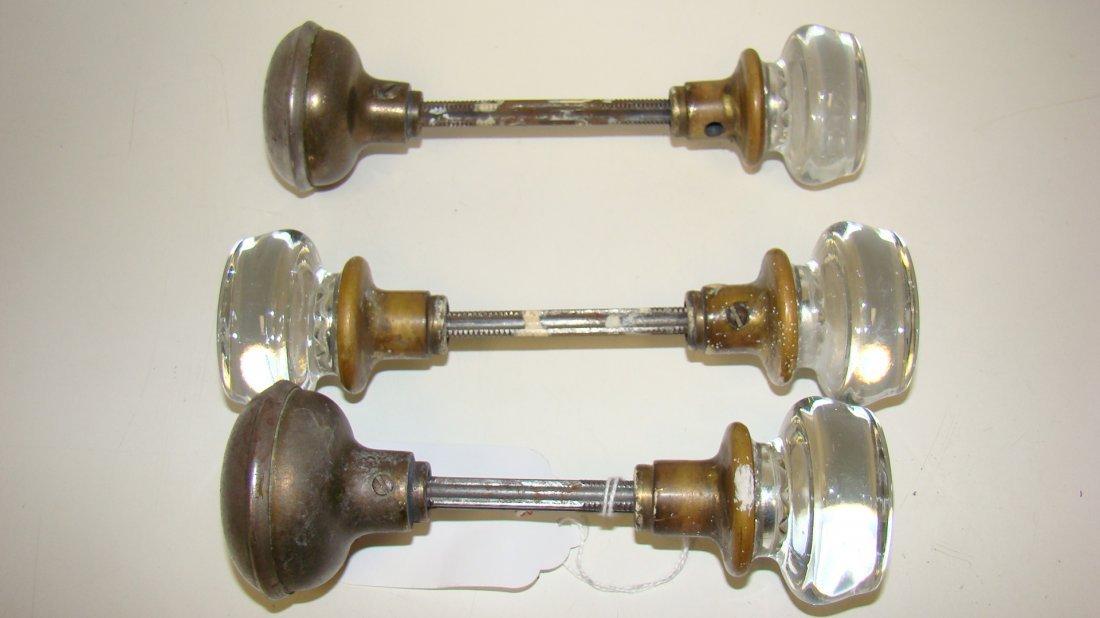 3 ANTIQUE GLASS DOOR KNOBS