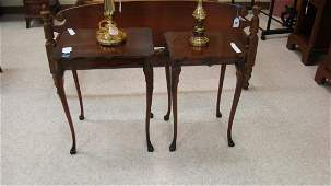 PAIR CARVED WALNUT SIDE TABLES