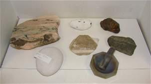 6 VARIOUS ROCKS  MARBLE MORTAR  PESTAL