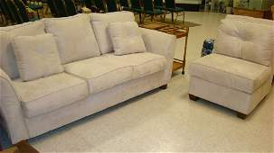 CREAM COLOR UPHOLSTERED SOFA & CHAIR