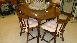 SMALL DARK COLOR OVAL DINING TABLE  4 CHAIRS