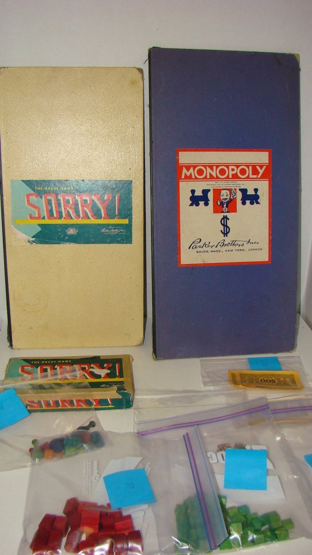 1933 MONOPOLY & 1954 SORRY GAME BOARDS & PCS