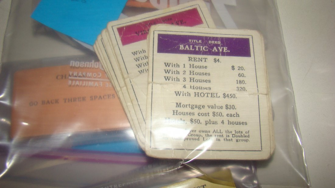 1933 MONOPOLY & 1954 SORRY GAME BOARDS & PCS - 9