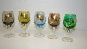 5 Vtg 4.5'' Colored Cordials