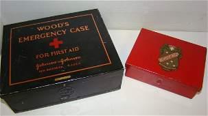 2 VINTAGE METAL FIRST AID KITS