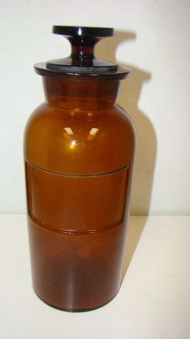 10'' VINTAGE BROWN GLASS APOTHECARY JAR