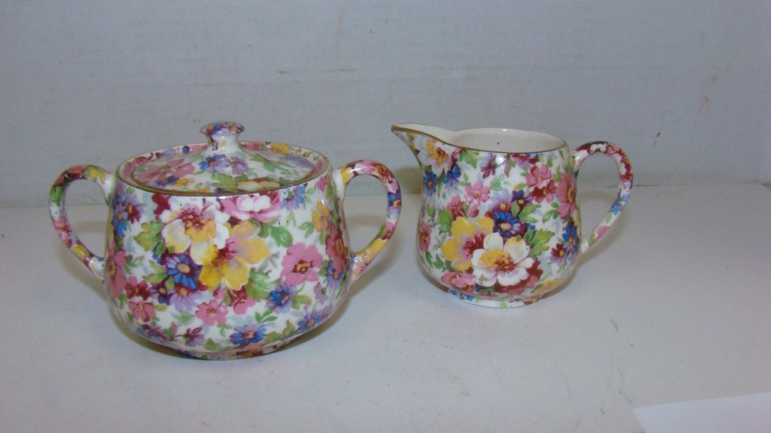 VINTAGE ROYAL CROWN ''MELODY CHINTZ'' CREAM & SUGAR