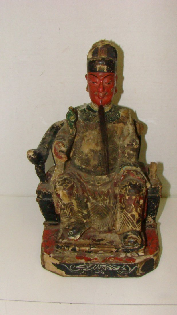 VERY OLD CHINESE CARVED WOOD FIGURE