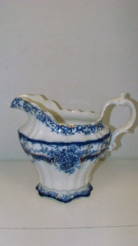 Antique Henry Alcock Flow Blue Pitcher