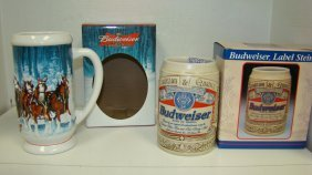 2 Nib Le Budweiser Collector Beer Steins