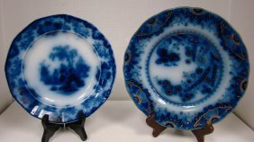 2 Antique Flow Blue Plates