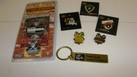 6 Nfl Raiders Pins & A Keychain