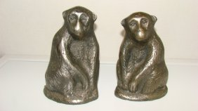 Pair Of Cast Metal Monkey Bookends