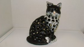 Cast Iron Cat Candle Lamp