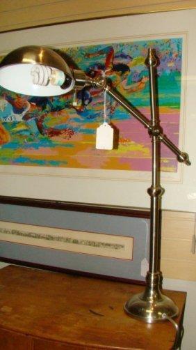 Tall Silver Tone Metal Desk Lamp