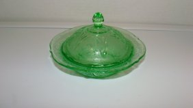 Green Depression Glass Covered Butter