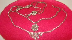 3 Vintage Rhinestone Necklaces & A Brooch