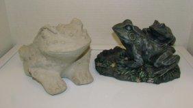 2 Frog & A Gargoyle Yard Decoratons