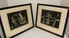 2 Framed Japan Woodblock Horse Prints