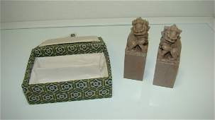 PAIR OF CARVED FOO DOG SOAPSTONE STAMPS