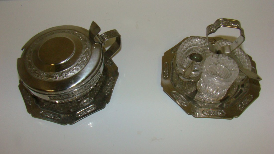2 CRYSTAL CONDIMENT SETS IN METAL HOLDERS