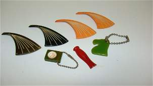 7 VARIOUS BAKELITE BUTTONS  KEYCHAINS